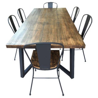 21st Century Wrought Iron Set of Patio Dining Table and Chairs For Sale