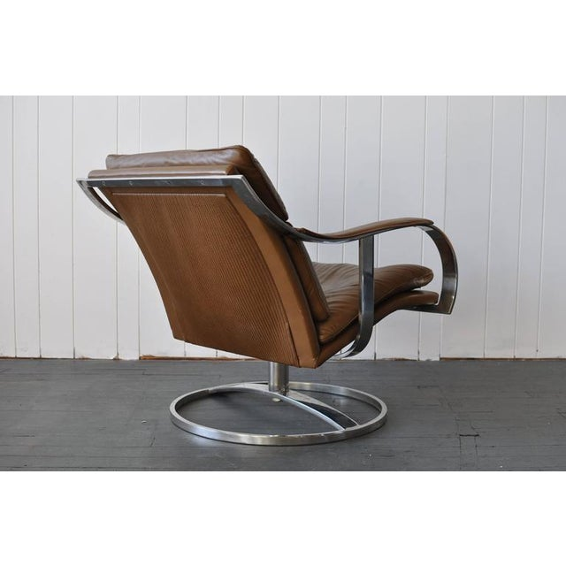 Mid-Century Modern Gardner Leaver for Steelcase Leather Lounge Chair For Sale - Image 3 of 7
