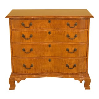 Eldred Wheeler Chippendale Tiger Maple 4 Drawer Chest For Sale