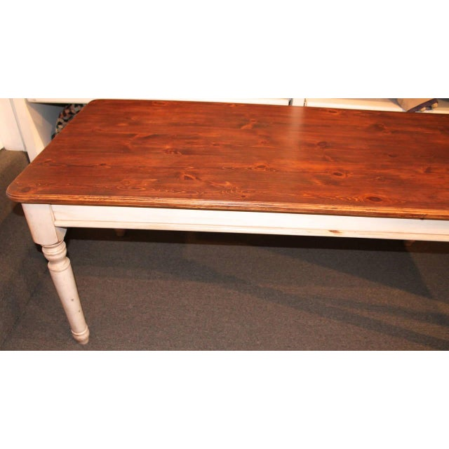 Fantastic 20th Century Handmade and White Painted Base Harvest Table For Sale - Image 4 of 8