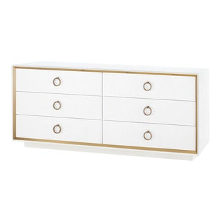 Bungalow 5 Ansel Extra Large 6-Drawer, White Lacquered Linen For Sale
