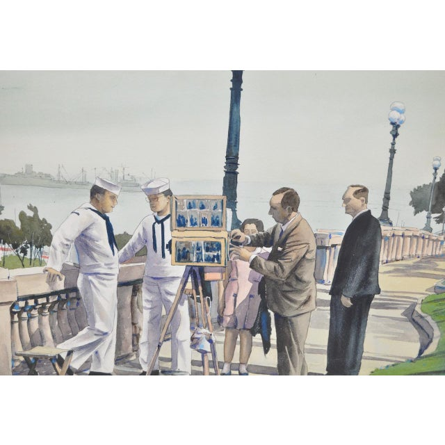 """Realism 1950s Vintage """"Naples, Italy with the 6th Fleet"""" Original Watercolor by Louis Kaep For Sale - Image 3 of 8"""