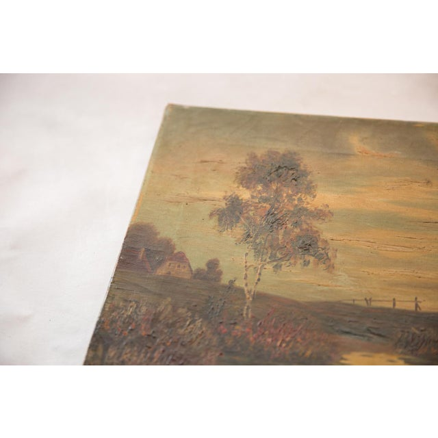 Country Antique Countryside Landscape Windmill Painting For Sale - Image 3 of 8