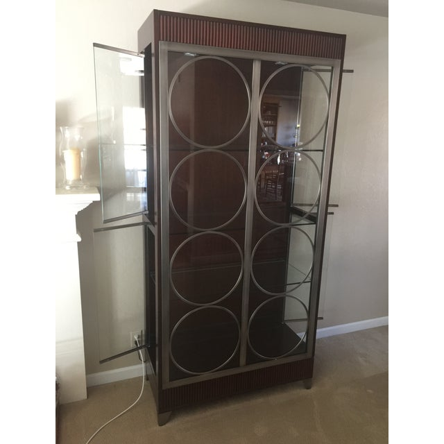 1990s Ethan Allen Modern Art Deco Display Cabinet For Sale - Image 5 of 5