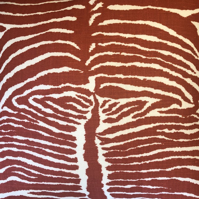 "2010s Brunschwig & Fils ""Le Zebre"" in Red 22"" Pillows-A Pair For Sale - Image 5 of 7"