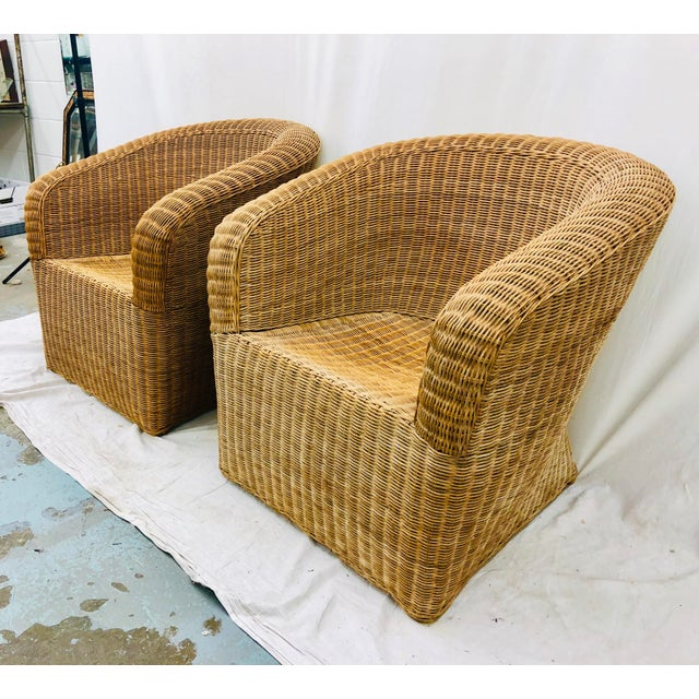 Pair Vintage Woven Wicker Club Chairs For Sale - Image 10 of 10