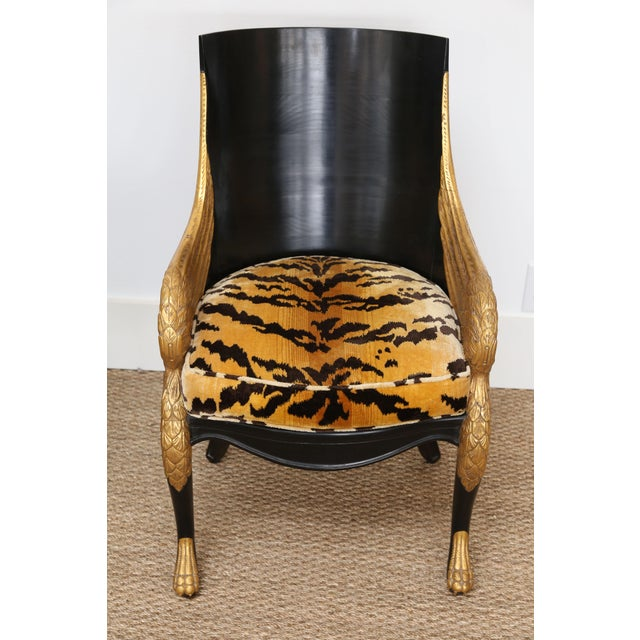 French Empire Armchairs Upholstered in Clarence House Tiger Velvet - a Pair For Sale In Houston - Image 6 of 11