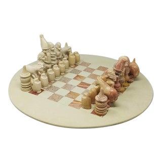 Vintage Travertine Chess Set - 33 Pieces For Sale