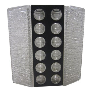 Mid-Century Textured Glass and Metal Sconce by Kaiser Leuchten For Sale