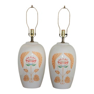 Mid-Century White Ceramic Lamps with Floral Motif - A Pair For Sale