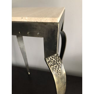 Contemporary Metal and Stone Petite Side Table With Travertine Top Preview