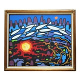 Image of 1990s Abstract Howard Besnia Surrealist Watercolor Signed Painting For Sale