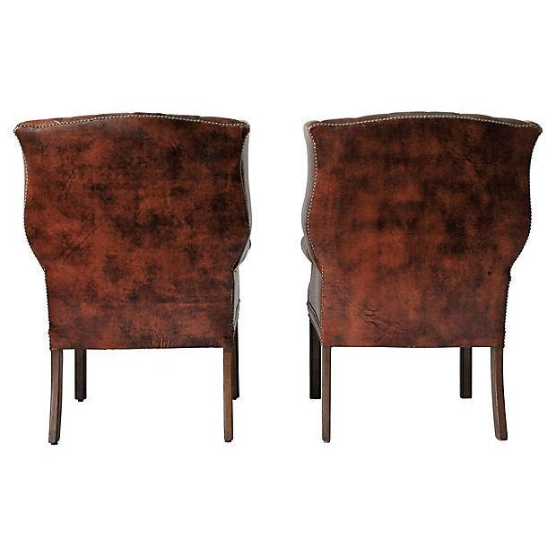 Tufted Leather Wingback Chairs - A Pair - Image 4 of 10