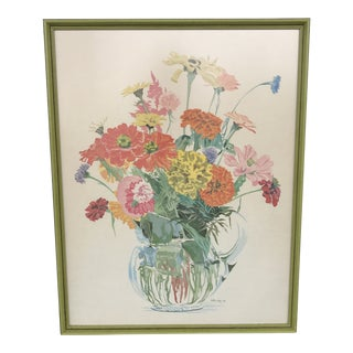 Vintage Floral Lithograph in Green Frame For Sale