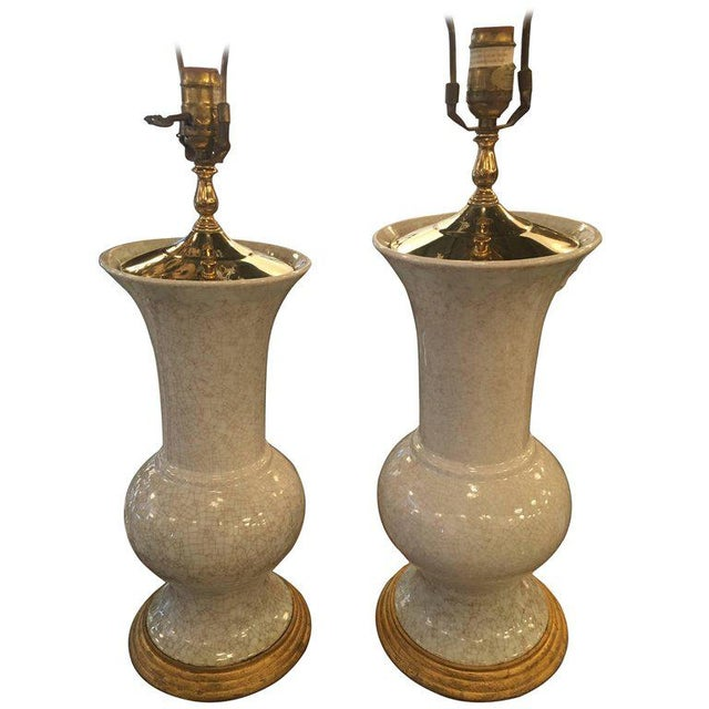 Crackle Glaze Ceramic Pagoda Brass Table Lamps - a Pair For Sale - Image 11 of 11