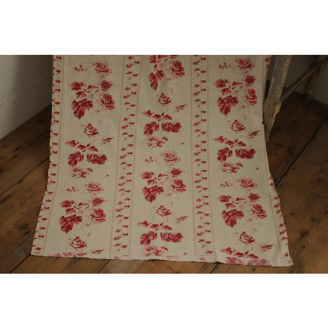 Shabby Chic Faded Floral Drape Curtain For Sale - Image 4 of 11