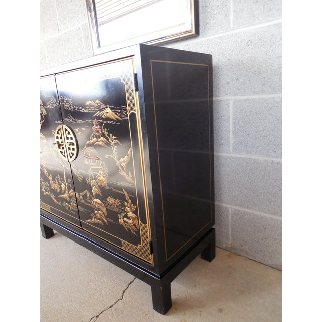 Drexel Et Cetera Black Lacquer Chinoiserie Decorated Console & Mirror For Sale - Image 5 of 12