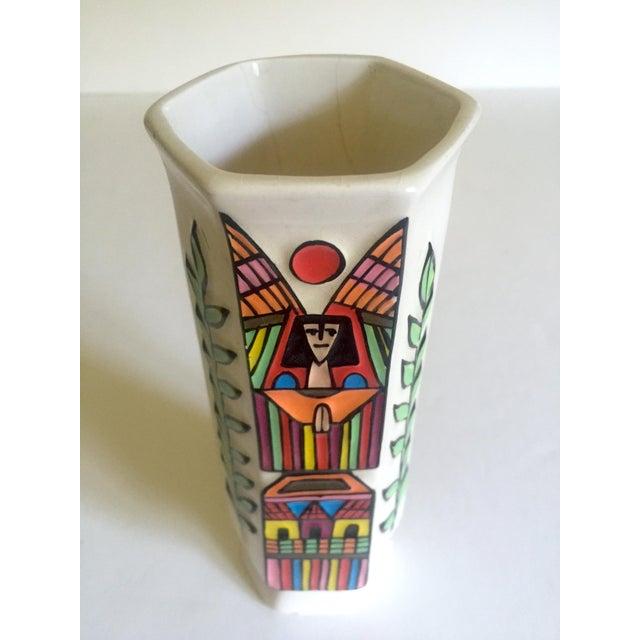 Vintage Mid Century Modern El Salavdor Rare Art Pottery Hand Painted Signed Angel Vase For Sale - Image 10 of 13