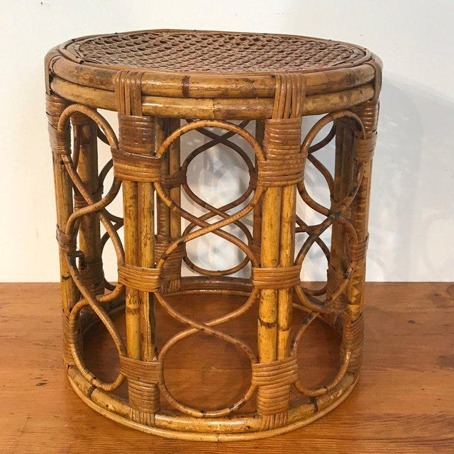 Set of Three Graduating/ Nesting Bamboo, Rattan and Reed Nesting Side Tables For Sale - Image 11 of 13