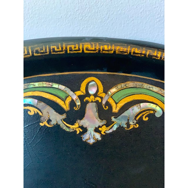 19th Century Black Paper Mache VictorianTray With Mother of Pearl Inlay For Sale - Image 4 of 7