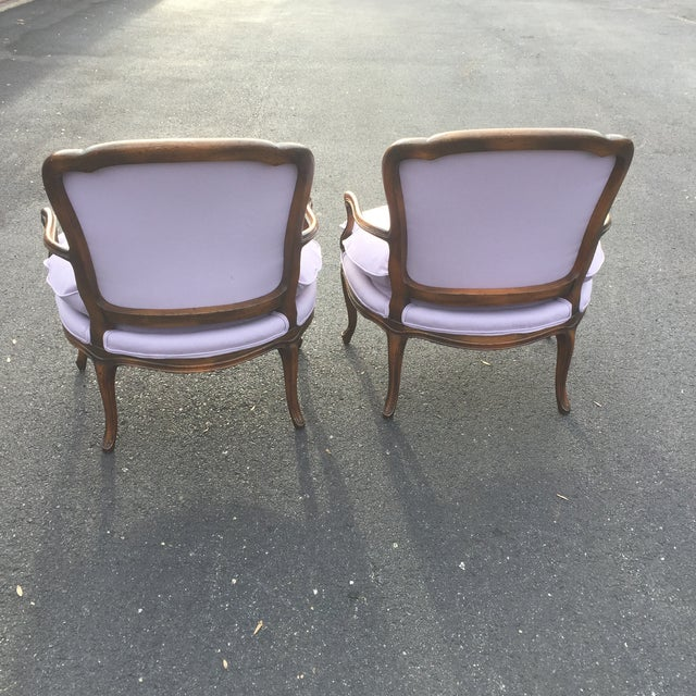 Vintage French Louis XVI Fauteuil Bergere Chairs - A Pair For Sale - Image 5 of 9