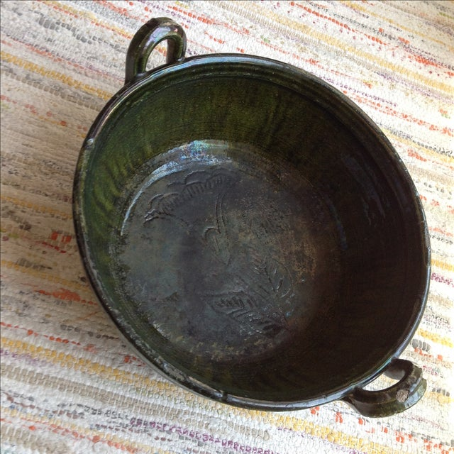 Vintage Rustic Green Studio Pottery Bowl - Image 3 of 9