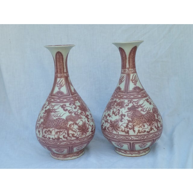 Red Flambe Dragon Vases - Pair - Image 2 of 5