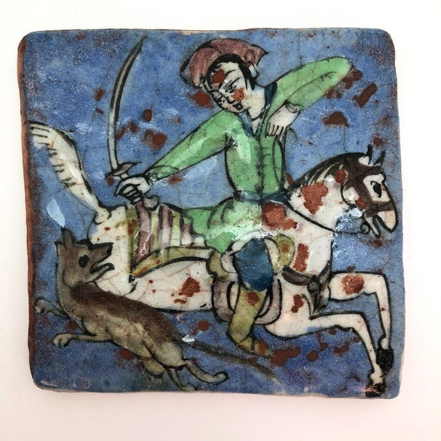 19th Century Antique Persian Qajar Hunter on Horse Ceramic Tile For Sale - Image 11 of 12