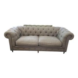 Restoration Hardware Flax Gray Linen Kensington Sofa For Sale
