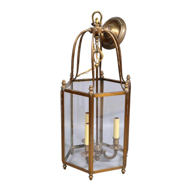1970s Rustic Brass and Glass Lantern Three-Light Hall Lantern For Sale - Image 5 of 6