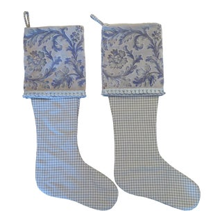 Maison Maison Vintage Printed Velvet and Houndstooth Christmas Stockings - a Pair For Sale