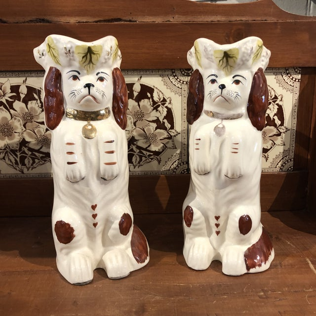 Vintage Staffordshire Dog Style Pitchers - a Pair For Sale - Image 11 of 11
