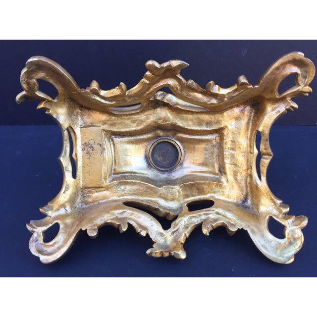 Metal 19th Century French Inkwell Bronze Louis XV Style Dore Encrier Desk Set For Sale - Image 7 of 10