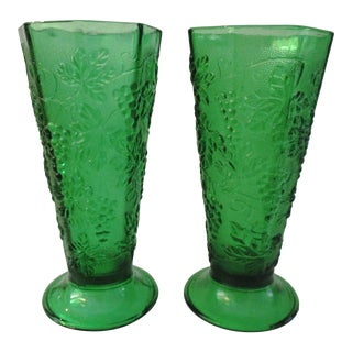 1970s Emerald Green Harvest Grape Vases, a Pair For Sale