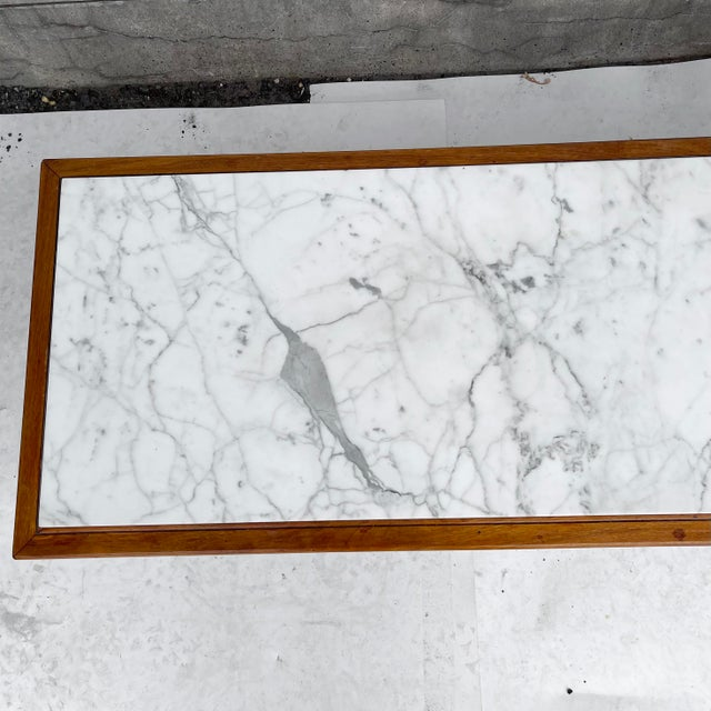 Mid-Century Modern Long Mid-Century Marble Top Coffee Table For Sale - Image 3 of 13