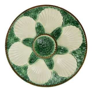 1960s French Majolica Oyster Plate For Sale