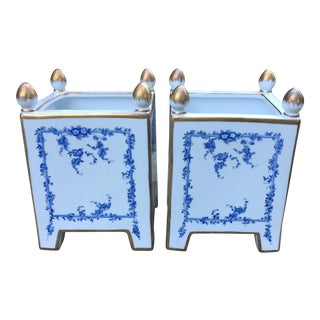 Chelsea House Porcelain Blue Gold Cachepots - A Pair