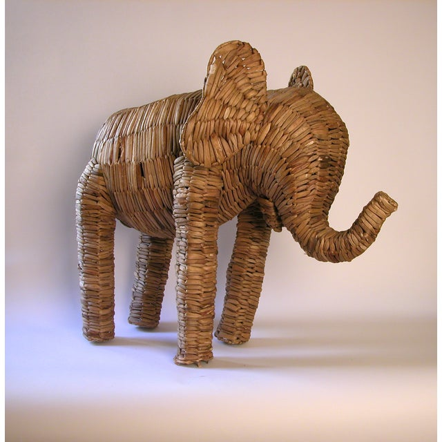 Vintage Large Seagrass Elephant - Image 2 of 7