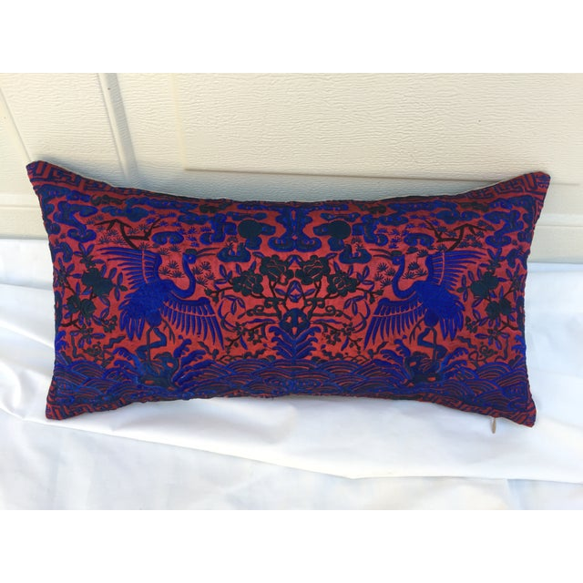 Boudoir pillow made of a colorful embroidered silk Asian textile fragment with cranes. New linen back and zipper closure....