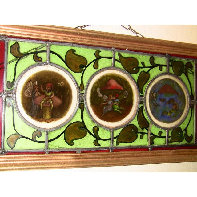 GORGEOUS AND UNIQUE stained glass and hand-pained panel in frame. DEFINITELY IRISH Mid-19th Century circa 1860. The frame...
