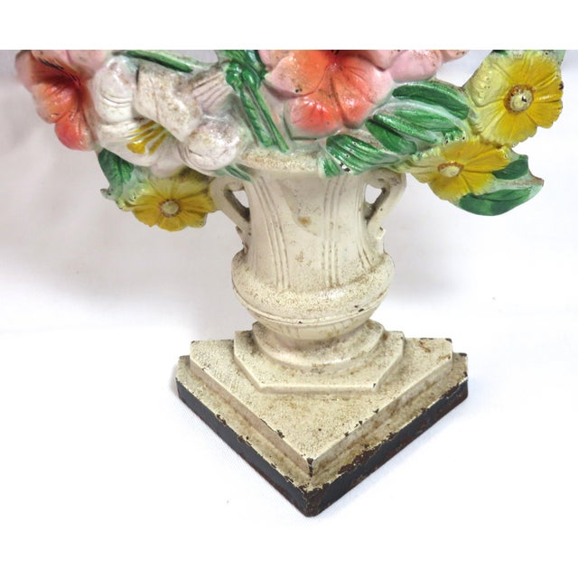 Hubley Manufacturing Company Vintage Cast Iron Flower Garden Doorstop Circa 1920s For Sale - Image 4 of 13