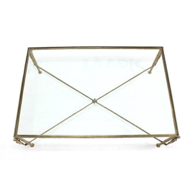 Bronze Large Rectangle Solid Bronze Figural Base Glass-Top Coffee Table For Sale - Image 7 of 7