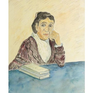 Albert Guillaume, French Watercolor Portrait - Lady in Deep Thought For Sale