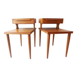 Pair of Vintage Danish Modern 2 Tier Teak Side Tables with Single Drawer