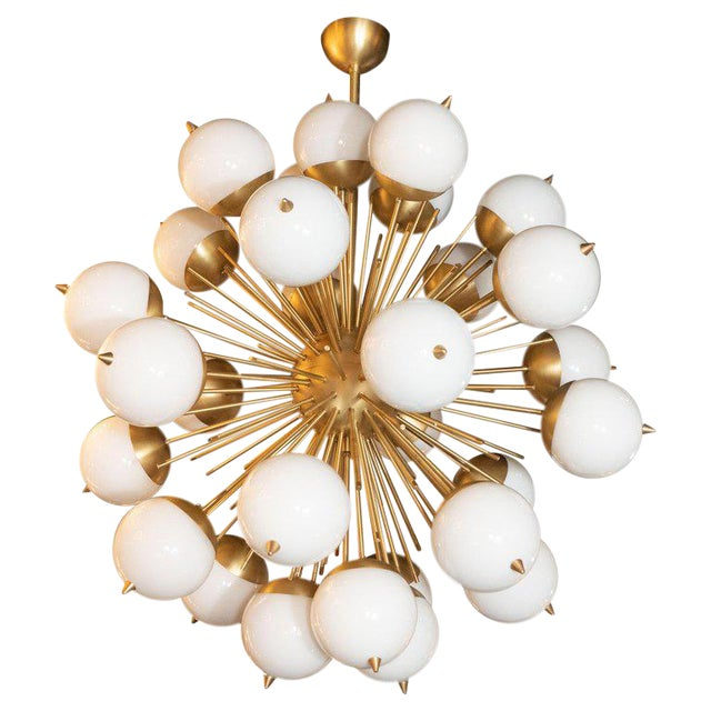 Modernist Hand Blown Murano Frosted Glass and Brushed Brass Sputnik Chandelier For Sale
