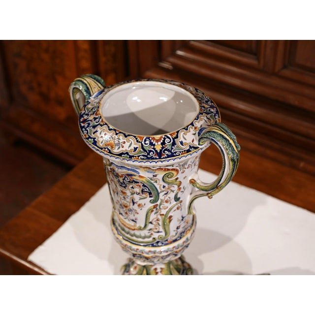 Ceramic 19th Century French Hand Painted Ceramic Vase With Lid From Normandy For Sale - Image 7 of 12