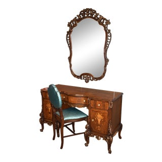1940s French Carved & Inlaid Vanity, Mirror, and Chair - 3 Pieces For Sale