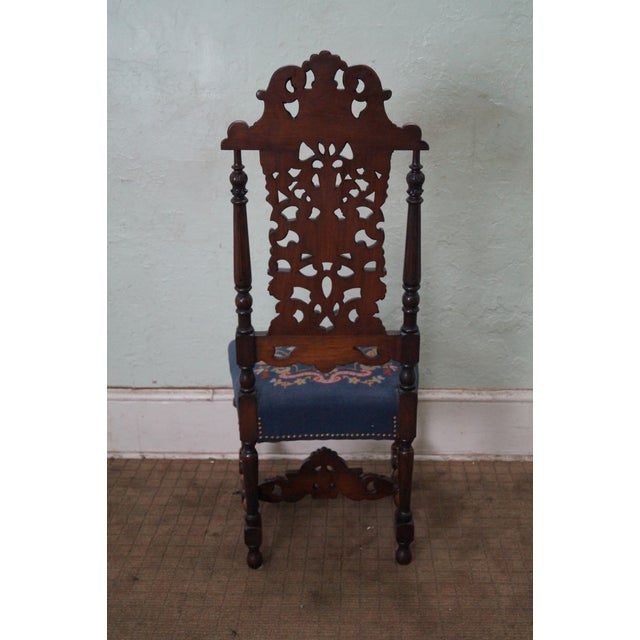 Antique Carved Renaissance Highback Side Chair For Sale - Image 4 of 10