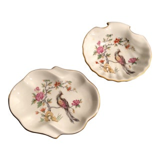Antique French Bird Floral Trinket Dishes - a Pair