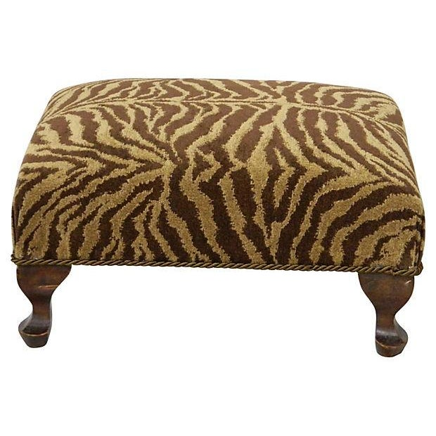 Vintage Chenille Tiger Ottoman - Image 3 of 4